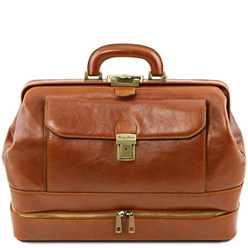 Honey leather doctor's bag by Tuscany Leather with double bottom