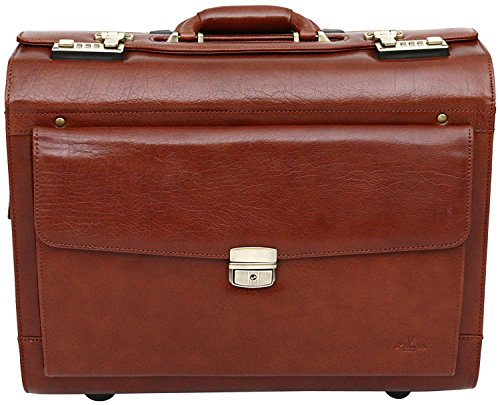 The leather trolley suitcase