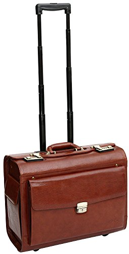 Full grain honey leather trolley suitcase for doctor on the move