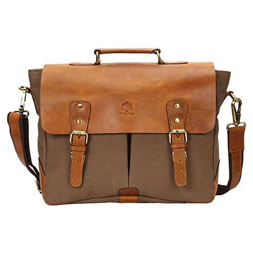 two-tone leather and canvas messenger bag for young teachers