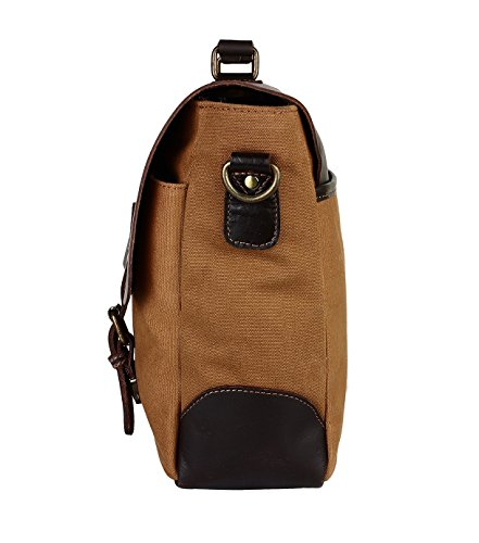 two-tone leather and canvas shoulder bag for young teachers
